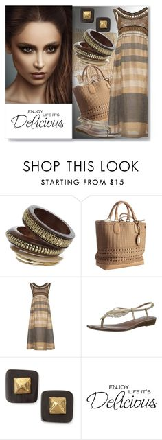 """""""Delicious"""" by assamite-mit ❤ liked on Polyvore featuring Miss Selfridge, Gucci, Alberta Ferretti, Carlos by Carlos Santana, Ashley Pittman, Summer, dress, natural and assamite"""