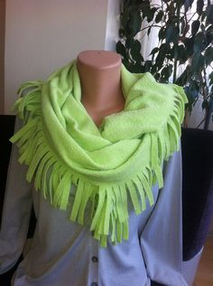 Green Winter Scarf Green Fleece Scarf  Lime Green by BellaTurka, $19.00