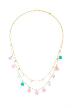 forever 21, pom pom and tassel necklace.
