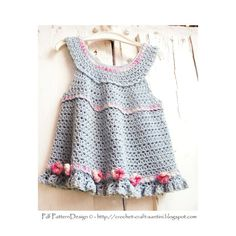 Rose-Dress Crochet Pattern  for girls 2-8 di PdfPatternDesign