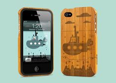 Submarine - Laser engraved bamboo #iPhone4 case in collaboration with Portland company Grove