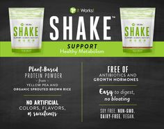"""SUPPORT your healthy metabolism with It Works! Shake! & because """"more"""" isn't always better, you can rest easy knowing Shake is: ✅ Soy Free ✅ Non- GMO ✅ Dairy Free ✅ Vegan"""