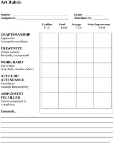 art rubric - Im thinking of comparing this to one that asks students to reflect…