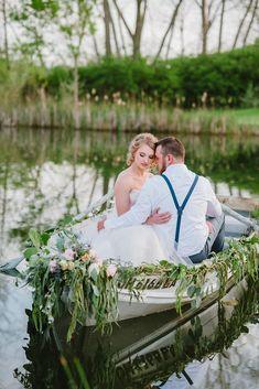 Wedding Inspiration: Love in A Canoe Wedding Editorial | Dress: Astrid & Mercedes Provence via Trousseau Bridal | Image: Ashley D Photography
