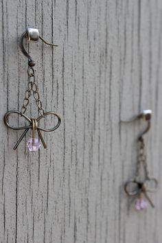 Wire Bow Earrings : True Romantic. Antique Bronze Wire Bow Earrings with Pastel Pink Crystal Accent