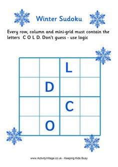 can the children work out how to fit the letters of cold into this winter sudoku puzzle