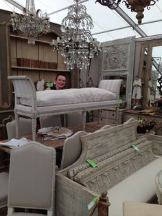 Antique furniture, decor;Janet Wiebe Antiques booth at Marburger