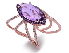 Spider ring in 14k rose gold with 5.4 ct. marquise amethyst, 0.29 ct. t.w. amethyst rounds, and 0.49 ct. t.w. diamonds by Dilamani, $3,000