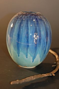 Blue and Green Pottery Vase Ceramics and by nhfinestoneware, $62.95