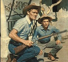 Chuck Connors (Lucas McCain) and Johnny Crawford (Mark McCain) in the 5 year run of The Rifleman.