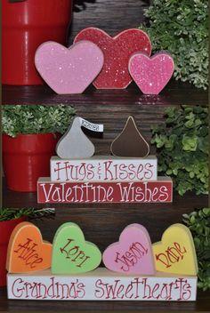 How Cute!! Blocks of love Valentines day home decor blocks #ad