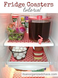Why have I never thought of this?  plastic placemats to line fridge shelf.  easy cleaning. Winner!