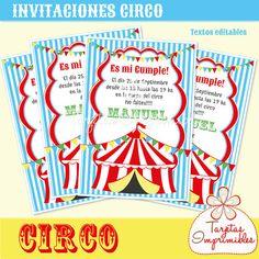 CIRCO Invitaciones para imprimir con texto editable pdf