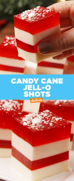 These Jell-O shots are the only way to get blitzed this Christmas. Get the recipe at Delish.com. #recipe #easyrecipes #jello #shots #alcohol #holiday #christmas #peppermint #candycane #liquor