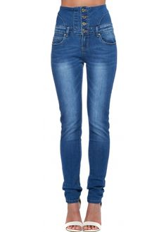 Designer Desirables Peach High Waisted Skinny Stretch Fit Jeans ...