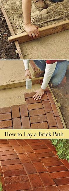 Learn how to lay a classic brick path. Also, many other great garden path and walkway ideas and projects! #brickpath #laybrick #diy #diygardenwalkways No Grass Backyard, Backyard Ideas, Patio Ideas, Diy Patio, Walkway Ideas, Budget Patio, Porch Ideas, Outdoor Ideas, Cheap Patio Furniture