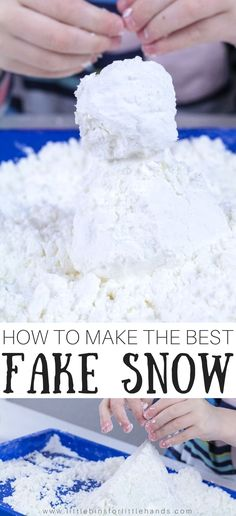Make fake snow! Too much snow or not enough snow? It doesn't matter when you know how to make fake snow! Treat the kids to an indoor snowman building session or fun winter sensory play with this super easy to make snow recipe! Winter Activities for Kids Sensory Activities Toddlers, Snow Activities, Winter Activities For Kids, Winter Crafts For Kids, Sensory Play, Art For Kids, Sensory Bins, Camping Activities, Snow Sensory Table