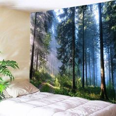 Forest Print Tapestry Home Wall Hanging Art Tree Tapestry Bedroom Decor Us Ship Bohemian Wall Tapestry, Tree Tapestry, Mandala Tapestry, Tapestry Wall Hanging, Wall Hangings, Mandala Art, Tapestry Nature, Tapestry Bedroom, Art Vert