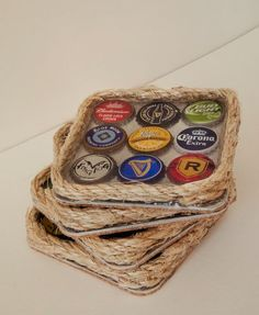 Handmade Beer Bottle Cap Coasters by SarahLorraineDesign on Etsy, $25.00: