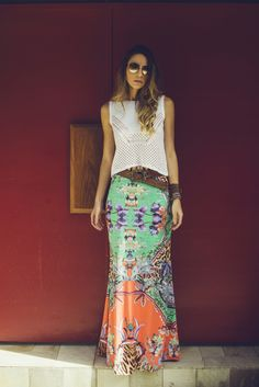 Really beautiful indian - style skirt, love! Mode Outfits, Skirt Outfits, Dress Skirt, Dress Up, Fashion Outfits, Skirt Belt, Maxi Skirts, Look Hippie Chic, Look Boho