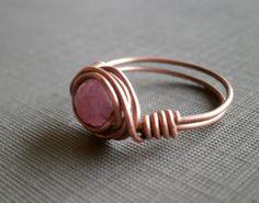 Handmade Ruby Ring. Ruby Gemstone Wire Wrapped by RuthAndJack