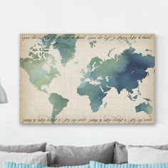 """""""Watercolor World Map"""" Painting Print on Wrapped Canvas World Map Painting, Painting Prints, Water Color World Map, Joss And Main, Beautiful Homes, Wrapped Canvas, Vintage World Maps, Arts And Crafts, Watercolor"""