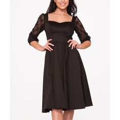 HEARTS & ROSES LONDON Black Adrienne Dress ($47) ❤ liked on Polyvore featuring dresses, cotton dress, vintage style dresses, lace sleeve dress, long dresses and vintage looking dresses