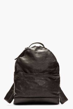 MARSÈLL Black grained leather minimalist backpack