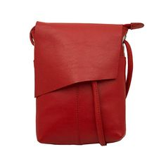 Leather Rawhide Red Flap Crossbody Bag