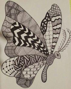 Butterfly by spaci zentangle drawings, doodle drawings, animal drawings, doodle art, zentangles Easy Doodle Art, Doodle Art Designs, Doodle Art Drawing, Zentangle Drawings, Zentangles, Doodling Art, Doodle Art Letters, Designs To Draw, Dibujos Zentangle Art