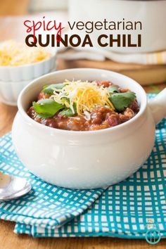 Slow Cooker Spicy Vegetarian Quinoa Chili made - the perfect meal to cure those winter blues