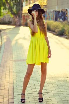 Don't hide! Shine! with the perfect combo of boho hat, high heels sandals and yellow dress So #fashion