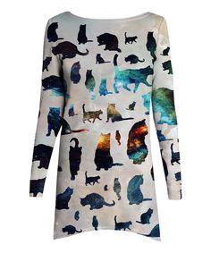 Gray & Blue Galaxy Cat A-Line Dress