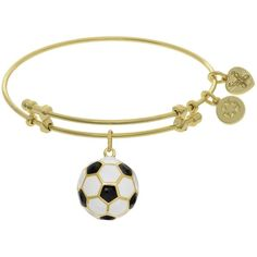 7.25 Adjustable Yellow Brass Black & White Enamel Soccer Ball Charm... ($35) ❤ liked on Polyvore featuring jewelry, bracelets, brass bangle bracelet, enamel bangle bracelet, enamel jewelry, charm bangles and brass charms