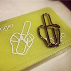 """Oh the times I would have loved to have these """"on hand""""... Fancy - Middle Finger Paperclips"""