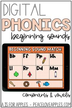Get beginning sound phonics practice with these digital activities for PowerPoint, Google Slides, and Seesaw. Match pictures to beginning letter sounds and match the beginning sound letter to a picture.
