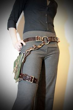 steampunk holsters bag | Unisex Thigh Holster Bag - Ox Blood, Brown, Green Canvas - steampunk ...
