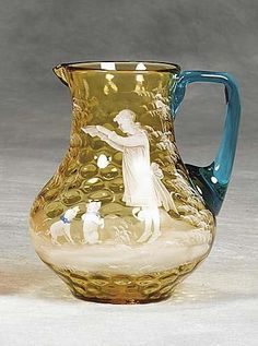 Mary Gregory glass pitcher 19th century decorated
