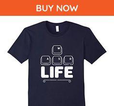 Mens WASD Gamer Life Humor T shirt Medium Navy - Gamer shirts (*Amazon Partner-Link)