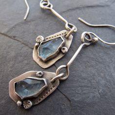 Long Earrings silver Dangling aquamarine gemstone pale by artdi Metal Jewelry, Jewelry Art, Silver Jewelry, Jewelry Accessories, Jewelry Design, Jewellery, Aquamarine Gemstone, Gemstone Earrings, Dangle Earrings