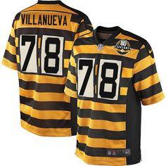 a9637d1651c Nike Pittsburgh Steelers Men s  78 Alejandro Villanueva Elite Gold Black  Alternate 80th Anniversary Throwback