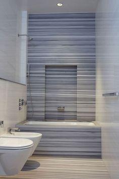 Marble stripe shower Tribeca Loft - modern - bathroom - new york - by Warren Red