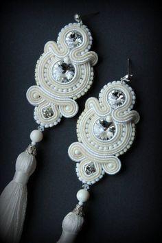 Handgemachte Soutache Ohrringe Braut Hochzeit Quaste Perlen