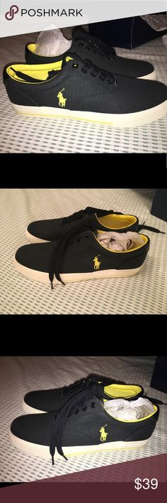 BRAND NEW! Men's Polo by Ralph Lauren sneakers Brand new & in box men's Polo by Ralph Lauren shoes. The style is Vaughn canvas sneaker. These are black with yellow details. Size 11.5. Purchased at Macy's- but they are too big for my boyfriend and we are past the return date. Make an offer! Polo by Ralph Lauren Shoes Sneakers