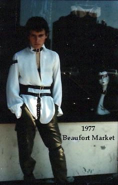 Adam Ant posing outside the Beaufort Market, Kings Rd, Chelsea. This was a melting pot for a myriad of punk designers in the mid to late '70s. Poly Styrene had a stall there and there were almost riots when it was closed down.