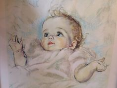 Items similar to Baby Picture Pastel Nursery Lithograph in Wood Frame Blue/Gilt Liner 10 x 13 in. Vintage Nursery Picture Louis F. Dow Print on Etsy Vintage Frames, Vintage Walls, Vintage Art, Nursery Pictures, Print Pictures, Vintage Baby Pictures, Pastel Nursery, Pastel Portraits, Calendar Girls