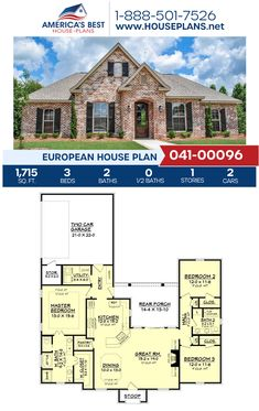 A stunning European home design, Plan 041-00096 delivers 1,715 sq. ft., 3 bedrooms, 2 bathrooms, split bedrooms, an open floor plan, and a 2 car garage. #europeanhome #onestoryhome #architecture #houseplans #housedesign #homedesign #homedesigns #architecturalplans #newconstruction #floorplans #dreamhome #dreamhouseplans #abhouseplans #besthouseplans #newhome #newhouse #homesweethome #buildingahome #buildahome #residentialplans #residentialhome Retirement House Plans, Best House Plans, Dream House Plans, European Plan, European House Plans, French Country House Plans, One Story Homes, Dream House Exterior, Open Floor