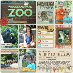 Project Life Vacation Album (summer 2013) - Woodland Park Zoo, Seattle  create by Juli Fish.  Credits - Go Wild by Julie Billingsley, Go Wild Lifetime Cards by Julie Billingsley, Lifetime Template 3 by Julie Billingsley, Darcy Baldwin - I Love My BFF 4 ever font (retired), Stamp-a-Bets 4 by Zoe Pearn, Stamped Alphas by Studio Basic.  vacation, travel, zoo, animals, family, teen, tween, banner, journal cards, pocket scrapbooking