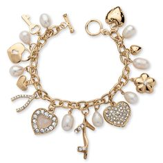 Purchase Fashionista Cultured Freshwater Pearl and Crystal Charm Bracelet in Yellow Gold Tone from PalmBeach Jewelry on OpenSky. Share and compare all Jewelry. Pandora Bracelets, Crystal Bracelets, Jewelry Bracelets, Bling Bling, Bracelets Design, Gold Ring Designs, Piercings, Photo Charms, I Love Jewelry