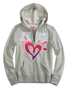Zip-Up Hoodie With Rhinestones | Jackets | Sweatshirts | Shop Justice